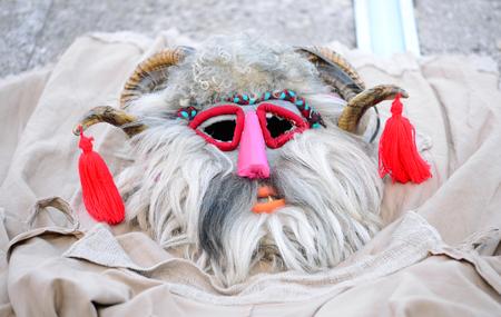 Historical dacian people pagan mask close detail Banco de Imagens