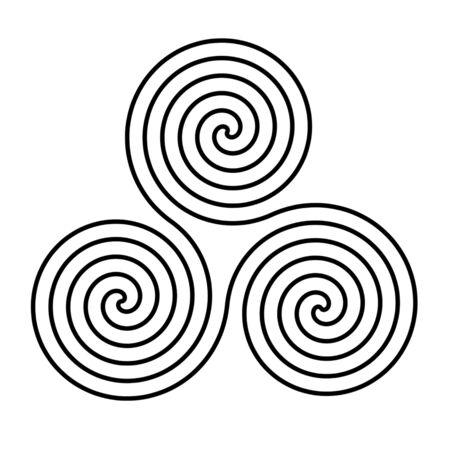 Triskelion megalithic ancient triple spiral black symbol