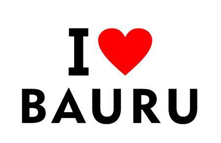 I love Bauru city Brazil country heart symbol Stock fotó