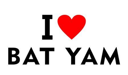 I love Bat Yam city Israel country heart symbol