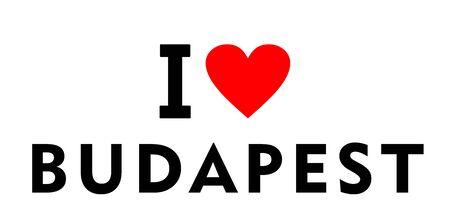 I love Budapest city Hungary country heart symbol