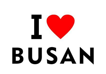 I love Busan city South Korea country heart symbol