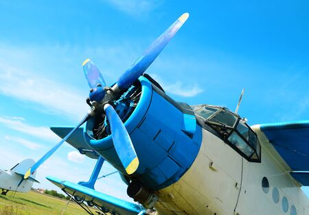 small utilitarian airplane propeller detail at aerodrome with blue sky