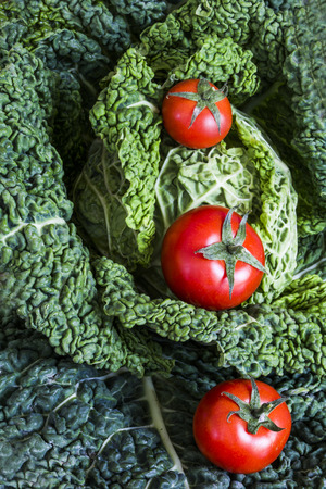 savoy: savoy cabbage with tomatoes Stock Photo