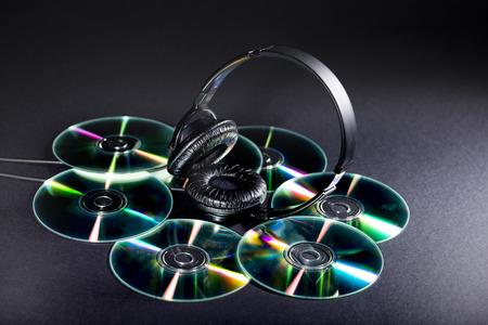 listened: cd and headphones Stock Photo