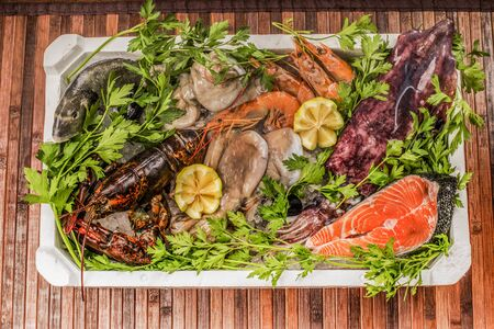raw lobster: variety of freshness fish Stock Photo