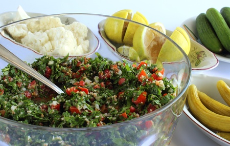 lebanese food: Lebanese salad - taboule