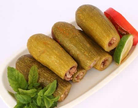 middle eastern food: lebanese food - cooked zucchini