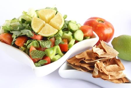 turkish bread: Fattoush - Lebanese Salad isolated on white background