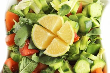 Fattoush - Lebanese Salad isolated on white background  photo