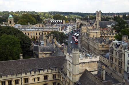 Oxford High Street Cityscape as seen from St Mary The Virgin  Stock Photo