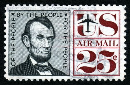 Vintage Abraham Lincoln USA 25c Airmail postage stamp. Stock Photo - 1980034