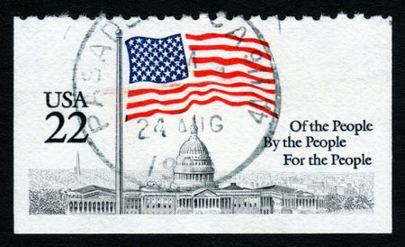 high scale magnification: USA 22c White House Flag stamp