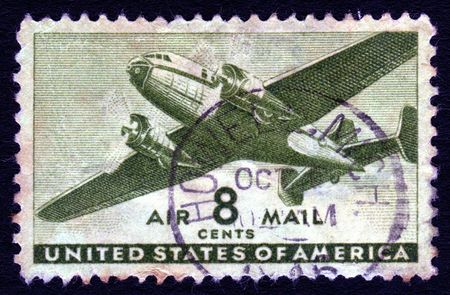 collectable: Vintage USA airmail 8 cents postage stamp  Stock Photo