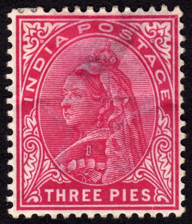 queen victoria: Antique late 19th century Indian three pies postage stamp  Editorial