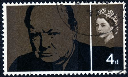 postage stamp: Vintage Winston Churchill Great Britain postage stamp