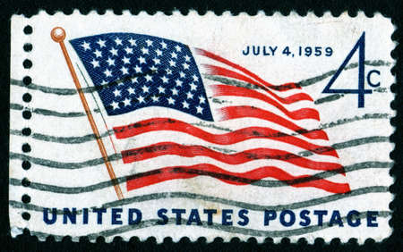 postage stamp: USA 1959 July 4th flag postage stamp