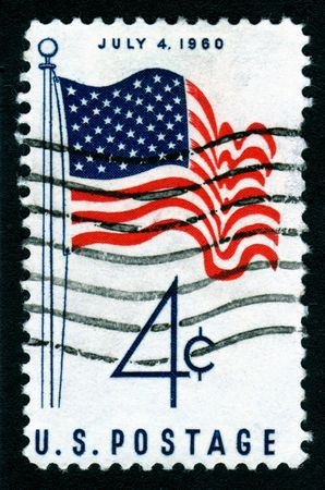 high scale magnification: USA 1960 July 4th flag postage stamp