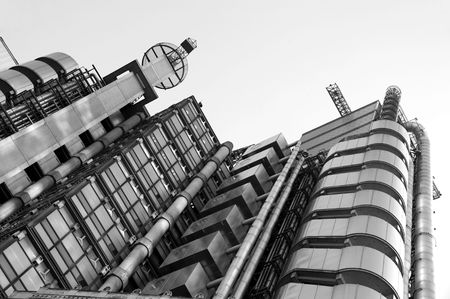 lloyds: Lloyd�s Building (black & white) Stock Photo