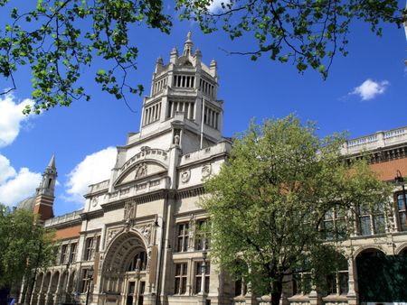 place of research: The Victoria & Albert Museum located in Kensington, London, was officially opened by Queen Victoria in 1857. It is the worlds largest museum of decorative arts spanning some 5000 years. Stock Photo