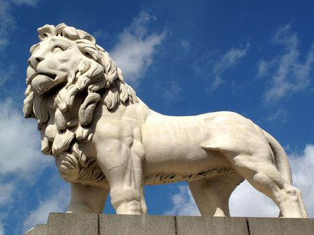 famous statues: The South Bank Lion, also known as the Coade Stone Lion was originally red in colour and stood at the entrance arch of The Lion Brewery near Hungerford Bridge. It was moved to its present position on the South bank on Westminster Bridge in 1951.
