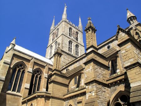 believed: Southwark Cathedral believed to have been built around 666AD and largely rebuilt in a Norman Gothic style after a fire in 1206AD and has a memorial to William Shakespeare who�s Globe Theatre stood nearby. Stock Photo