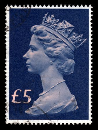 postage stamp: Vintage blue Queen Elizabeth 11, Five Pounds, Great Britain postage stamp SG1028.