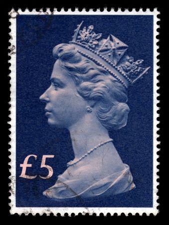 Vintage blue Queen Elizabeth 11, Five Pounds, Great Britain postage stamp SG1028. Stock Photo - 5286754