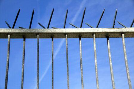 galvanised: Galvanised steel spiked security fence