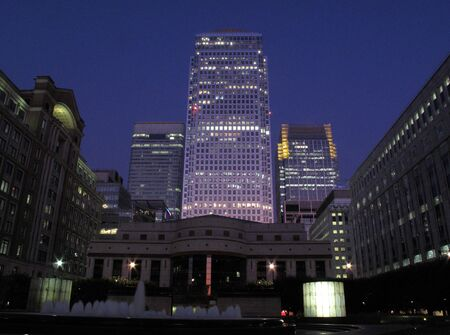 Canary Wharf, Docklands at night, photo
