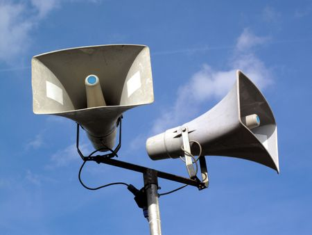 Public address system of two megaphones. Stock Photo - 5776763