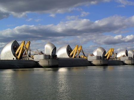 greenwich: The Thames Barrier in operation with its flood gates closed. The Barrier was built between 1974-82 and is the worlds second largest flood control barrier