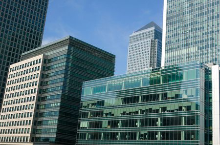 Canary Wharf in Docklands is the largest business development in East London, built on the site of the old West India Docks on the Isle Of Dogs photo