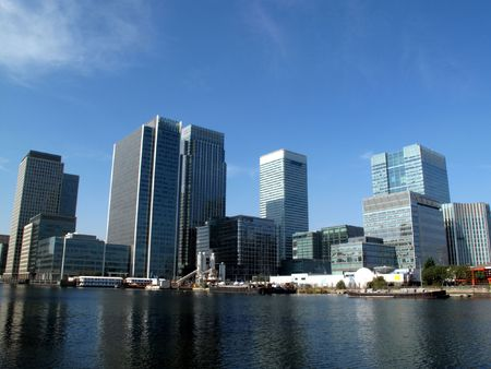 Canary Wharf in Docklands is the largest business development in East London, built on the site of the old West India Docks on the Isle Of Dogs Stock Photo