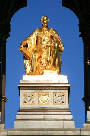 The gold leaf covered statue of Prince Albert from the Albert Memorial which was built between 1863 and 1876 to commemorate the death of Queen Victoria�s beloved consort. photo