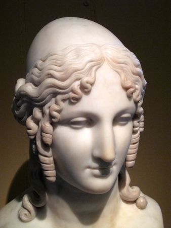 troy: Ancient sculptured head of Helen Of Troy whos face is said to have launched a thousand ships.
