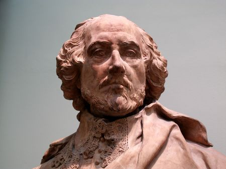 clay: Clay sculptured head of William Shakespeare the Elizabethan playwright.