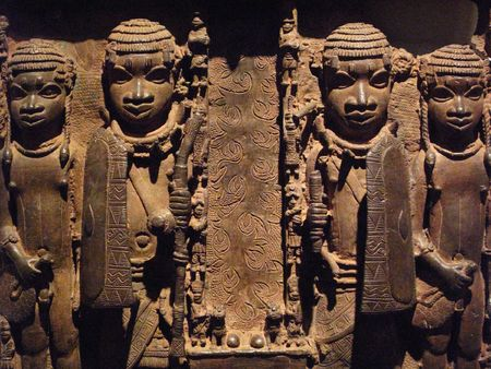 benin: Nigerian African brass plaque of the 16th  century showing the facade of a royal palace.