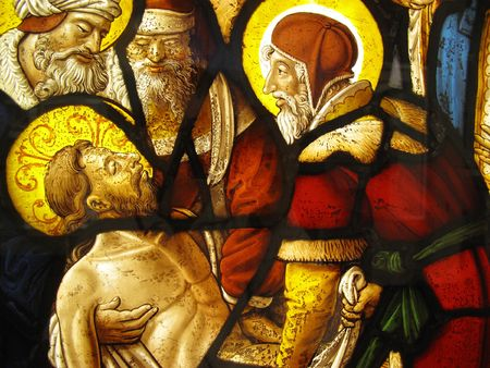 glass panel: The Entombment of Christ shown in an image on a medieval 16th century stained glass panel from the cloisters of Steinfeld Abbey near Cologne Germany