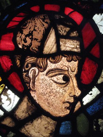 Head of Patriarch Semel shown in an image on a medieval 12th century stained glass window from Canterbury Cathedral, England photo