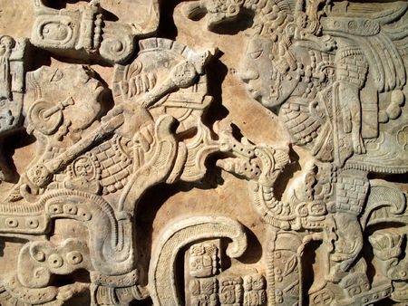 Ancient Mexican Maya limestone lintel Stock Photo