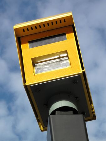 enforcing: Speed camera, a modern means of enforcing the law on traffic speeding.