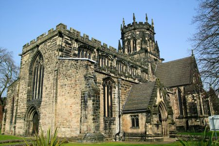 eventually: Chester Cathedral in the city of Chester, England founded  in 660AD and eventually became a cathedral in 1540. Stock Photo