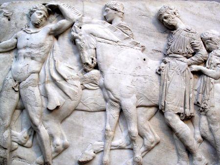 friso: Secci�n de un friso de los antiguos m�rmoles del Parten�n (Parten�n) de la Acr�polis de Atenas, que fueron adquiridos por el Gobierno brit�nico en 1816 por Lord Elgin