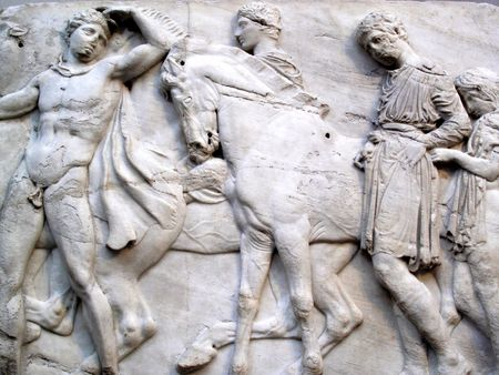 Section of a frieze of the ancient Elgin Marbles (Parthenon Marbles) from the Acropolis in Athens, which were acquired for the British Government in 1816 by Lord Elgin