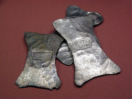 silver ingots: Roman silver ingots of the 4th or 5th century found in England which were used to pay soldiers and civil servants of the empire Stock Photo