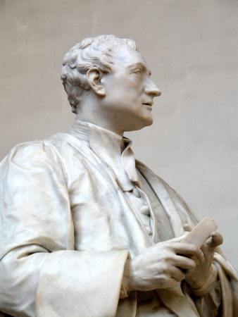 isaac newton: Sculptured by Roublliac in 1755 this is a statue at Trinity College Cambridge University of Sir Isaac Newton 1643-1727 a famous English physicist, mathematician, astronomer, and alchemist. While at Trinity he developed his theory of gravitation after watc Stock Photo