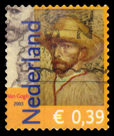 sello postal: Hoja de sello postal de los Pa�ses Bajos, mostrando un autorretrato del pintor impresionista famoso post holand�s Vincent van Gogh