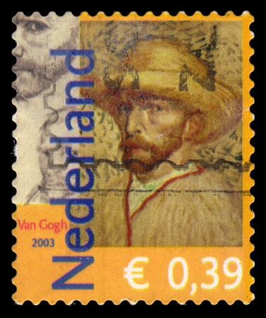 cancelled stamp: Netherlands postage stamp sheet, showing a self portrait of the famous Dutch post impressionist painter Vincent van Gogh Editorial