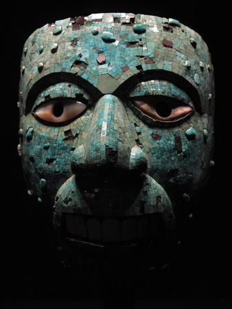 Ancient Aztec turquoise mask of Xiuhtecuhtli dating from 1400-1521 from Mexico